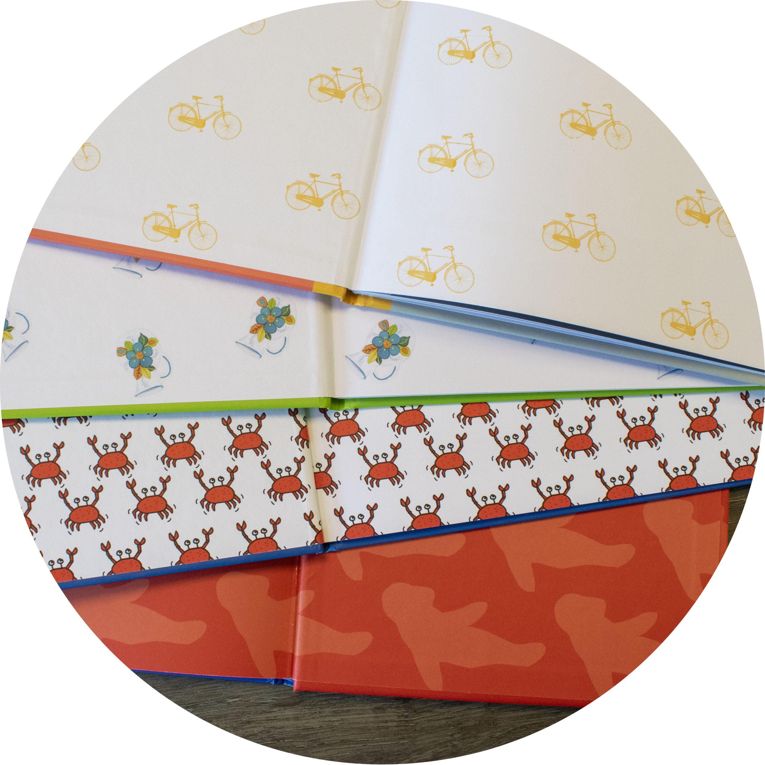 bedrukt schutblad met een patroon